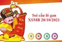 Soi cầu lô gan KQXSMB 28/10/2021